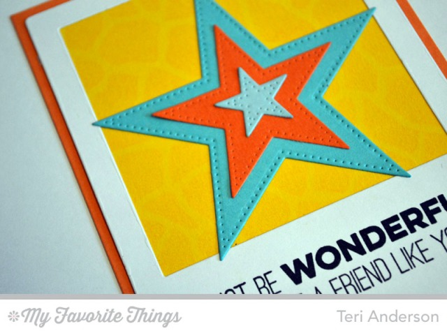 Close up of Wonderful Stars card by Teri