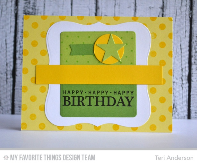 Birthday card made with stamps and steel dies from My Favorite Things