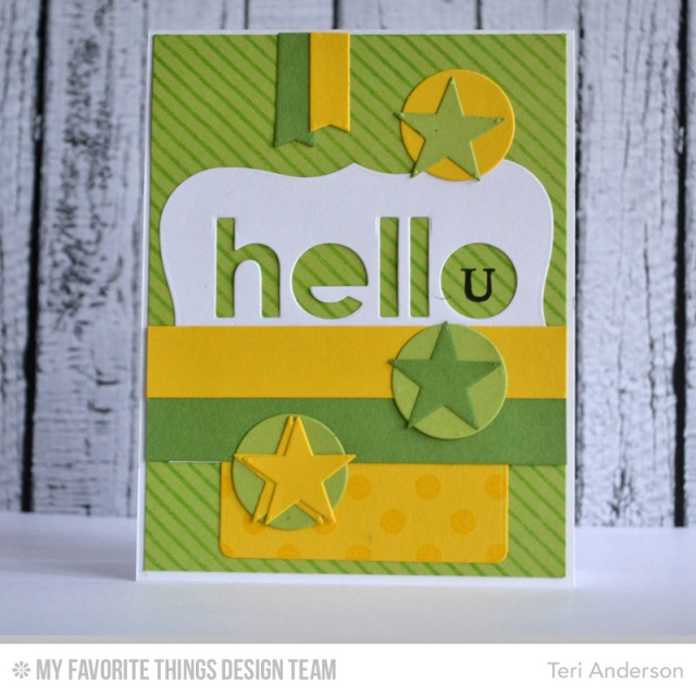 Hello card made with stamps and dies from My Favorite Things