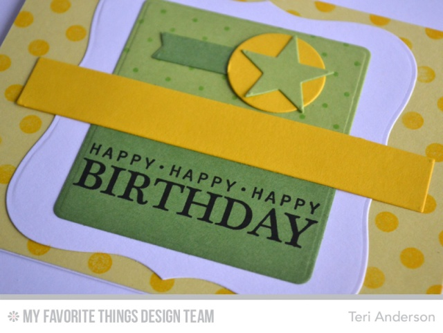 Birthday card created with stamps and dies from My Favorite Things