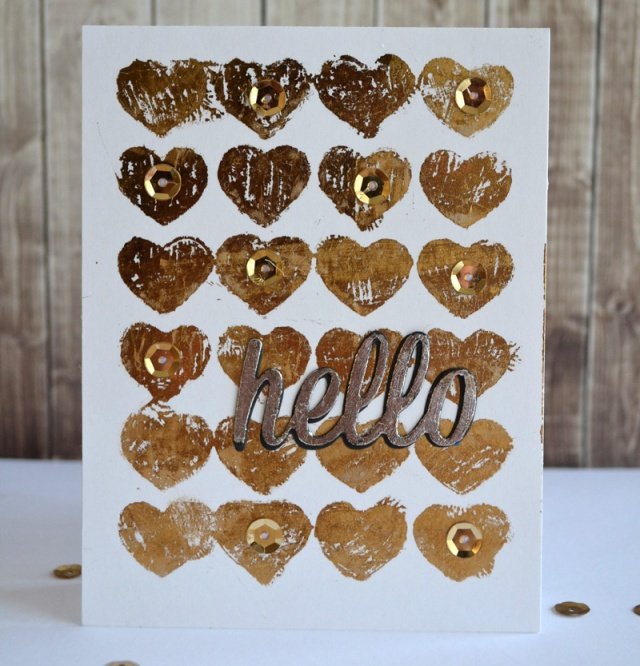 Gold Hearts Hello by Teri