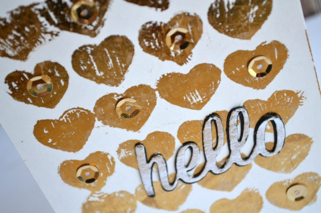 Gold Hearts Hello card by Teri