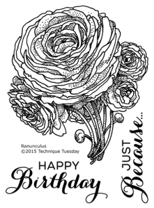 Ranunculus - Greenhouse Society stamp set from Technique Tuesday
