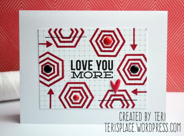 Graphic Love You Handmade Stamped Card by Teri // terisplace.wordpress.com