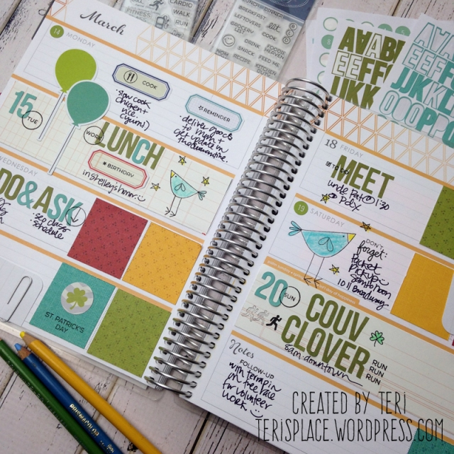 Planner pages with planner stamps by Teri // Terisplace.wordpress.com