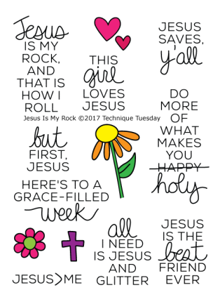 Jesus-Is-My-Rock-Flower-Cross-Hearts-Christian-Sentiments-Clear-Stamps-Technique-Tuesday