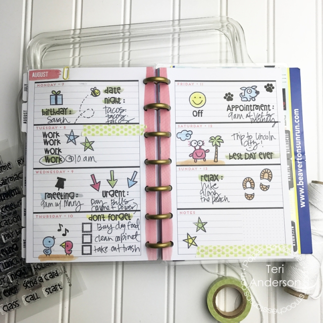 Decorated planner pages for Paper Smooches by Teri // terisplace.wordpress.com