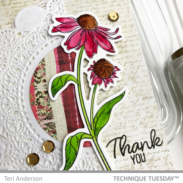 Thank-You-Red-Flower-Handmade-Card-Close-Teri-A-Technique-Tuesday
