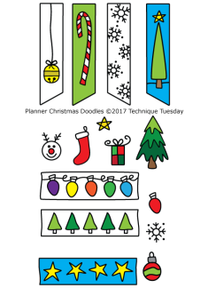 Planner Christmas Doodles stamp set from Technique Tuesday // TechniqueTuesday.com