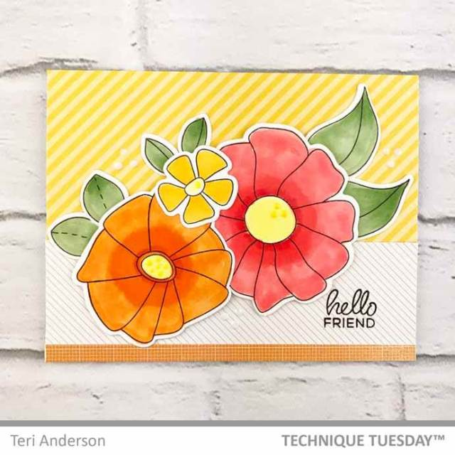 Hello-Friend-Trio-Flowers-Card-Teri-A-Technique-Tuesday
