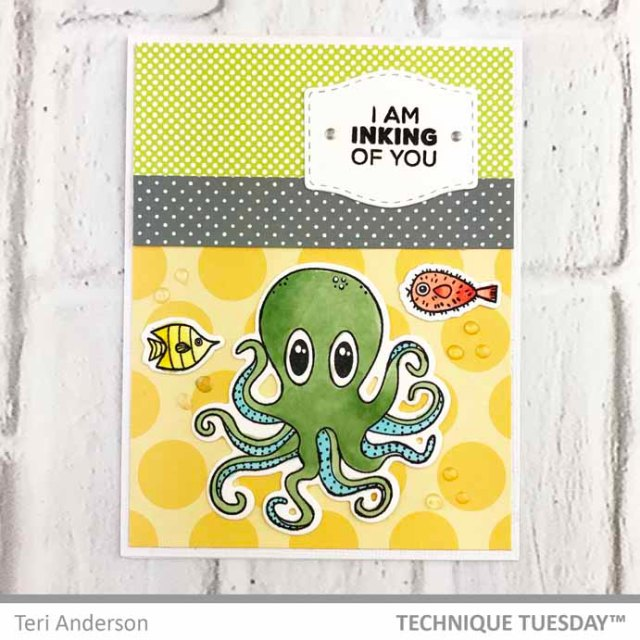 A stamped card featuring an Octopus by Teri | Terisplace.wordpress.com
