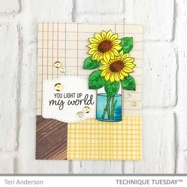 A stamped card featuring flowers by Teri | Terisplace.wordpress.com