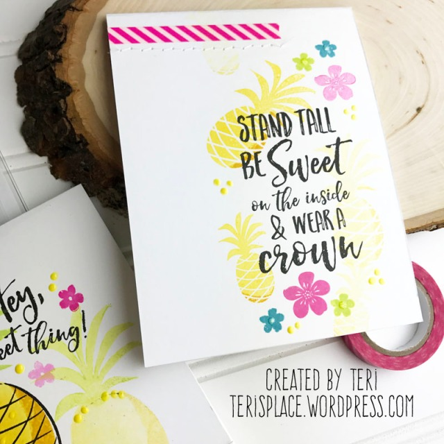 A stamped pineapple card by Teri | terisplace.wordpress.com