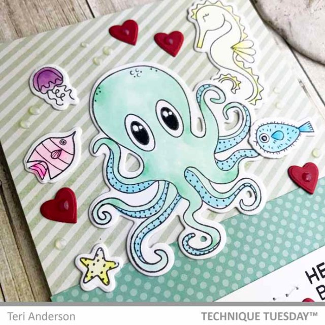 A stamped octopus and seahorse card by Teri | teriplace.wordpress.com