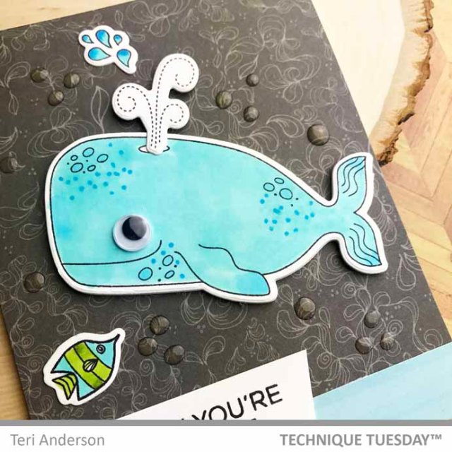 A stamped whale card by Teri | terisplace.wordpress.com