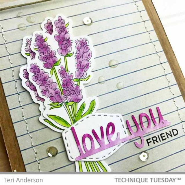 A stamped flower card by Teri | terisplace.wordpress.com