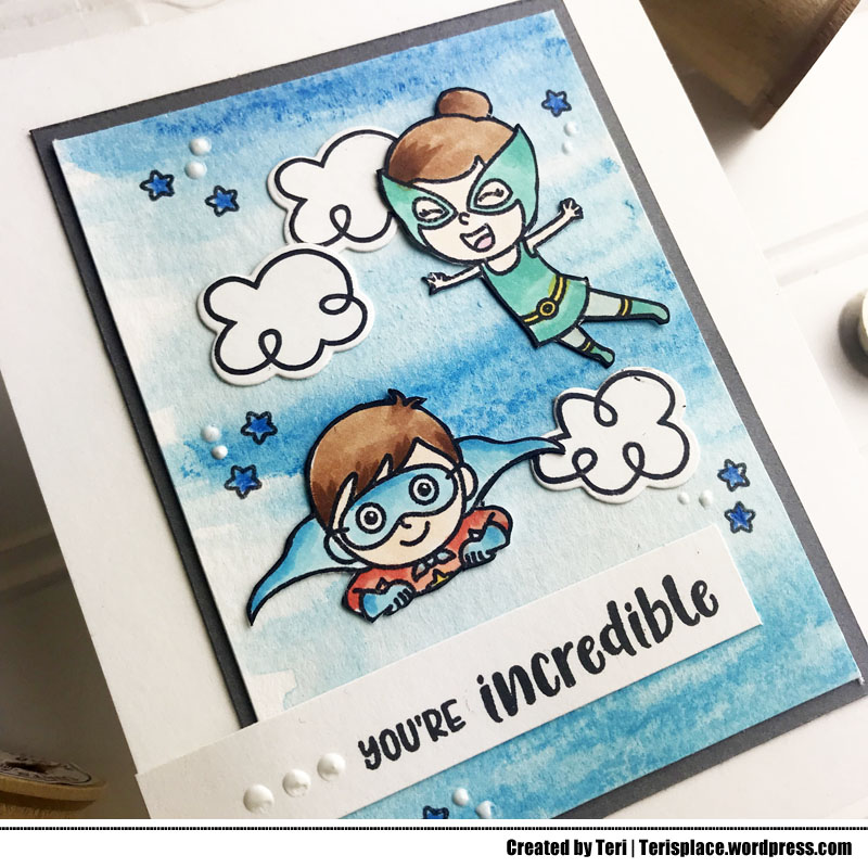A stamped super hero card by Teri | terisplace.wordpress.com