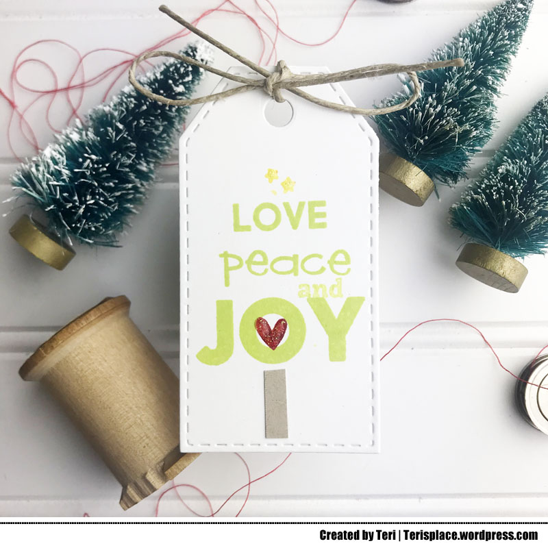 A stamped Christmas gift tag by Teri | terisplace,wordpress.com