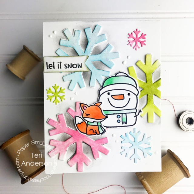 A stamped snowman and fox card by Teri | terisplace.wordpress.com